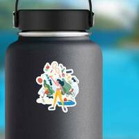 Exercise Illustration Sticker on a Water Bottle example