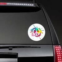 Paint Splatter Peace Sign Hippie Sticker on a Rear Car Window example