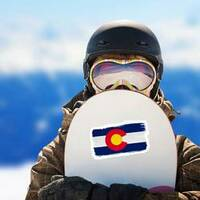 Brush Painted Flag State Of Colorado Sticker on a Snowboard example