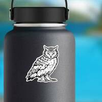 Mean Staring Owl Sticker on a Water Bottle example