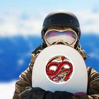 Infinity Red Dragon Circle Sticker on a Snowboard example