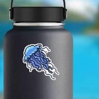 Pixel Art Jellyfish Isolated Cartoon Sticker