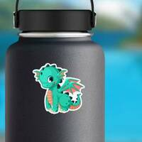 Cute Baby Teal Dragon Cartoon Sticker on a Water Bottle example