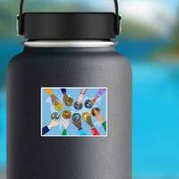Crypto Currency Around the World Sticker on a Water Bottle example