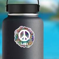 Decorative Hippie Love Peace Sticker on a Water Bottle example