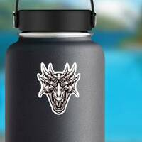 Monster Dragon Head Sticker on a Water Bottle example