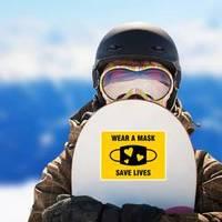 Wear a Mask Save Lives Hearts Sticker