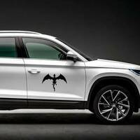 Strong Black Dragon In Flight Sticker on a Car Side example