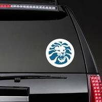 Angry Lion Head Circle Sticker on a Rear Car Window example