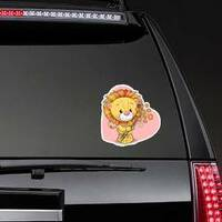 Cute Lion with Flowers Sticker on a Rear Car Window example