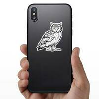 Mean Staring Owl Sticker on a Phone example