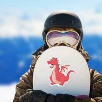 Funny Red Dragon Cartoon Sticker on a Snowboard example