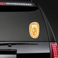 Fun Cartoon Lion Head Roar Sticker on a Rear Car Window example