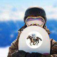 Watercolor Derby Horse Sticker on a Snowboard example