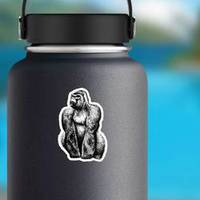 Black And White Engrave Isolated Gorilla Illustration Sticke
