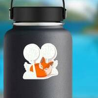 Fox Kit Sleeping in the Trees Sticker on a Water Bottle example