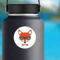 Fox Wearing Bowtie and Sunglasses Sticker on a Water Bottle example