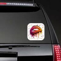 Biting Lips In Bright Colors Sticker on a Rear Car Window example