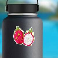 Split Dragon Fruit Sticker on a Water Bottle example