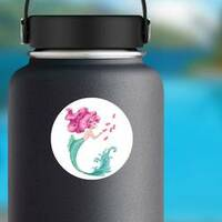 Beautiful Mermaid with Pink Hair and Fish Sticker on a Water Bottle example