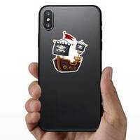 Pirate Ship Jolly Roger Flag Sticker on a Phone example