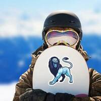 Blue and Purple Roaring Lion Mascot Sticker on a Snowboard example