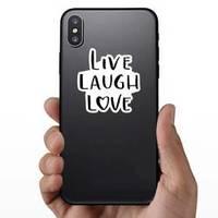 Live, Laugh, Love Modern Calligraphy Heart Letter Sticker