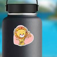 Cute Lion with Flowers Sticker on a Water Bottle example