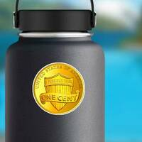 Gold Once Cent Coin Sticker on a Water Bottle example