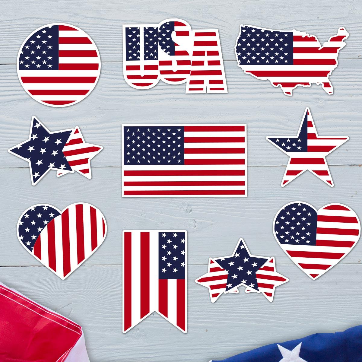 Stars and Stripes - USA Flag Sticker Bundle 1