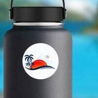 Sea Waves, Beach, and Trees Sticker on a Water Bottle example