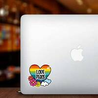 Nice Hippie Heart With Flowers And Cloud Sticker on a Laptop example
