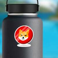 Shiba Inu Doge Coin Sticker on a Water Bottle example