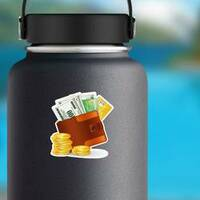 Leather Wallet with Lots of Money Sticker on a Water Bottle example