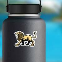 Angry Roaring Lion Mascot Sticker on a Water Bottle example