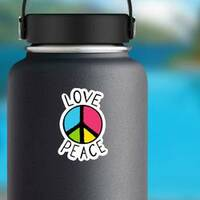 Love And Peace Colorful Hippie Sticker on a Water Bottle example