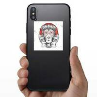 Hipster Lion With Glasses Sticker on a Phone example