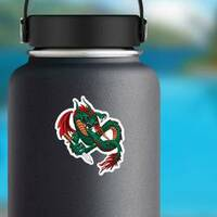 Flying Fire Breathing Dragon With a Sword Sticker on a Water Bottle example