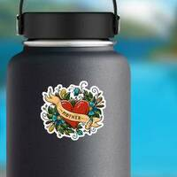 Red Heart Mother Ribbon Tattoo Sticker on a Water Bottle example
