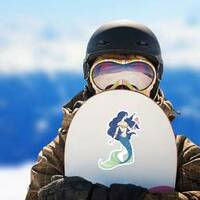 Hand Drawn Mermaid Holding A Flower Sticker on a Snowboard example