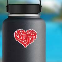 Make Love Heart Hippie Sticker on a Water Bottle example