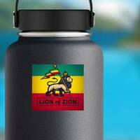 Lion of Zion Sticker on a Water Bottle example