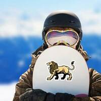 Angry Roaring Lion Mascot Sticker on a Snowboard example