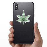 Isolated Decorative Marijuana Leaf Sticker example