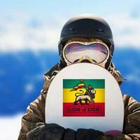 Lion of Zion Sticker on a Snowboard example