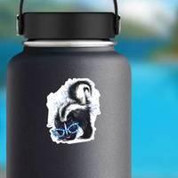 Skunk Watercolor Illustration In Blue Sunglasses Sticker