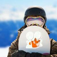 Fox Kit Sleeping in the Trees Sticker on a Snowboard example
