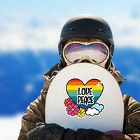 Nice Hippie Heart With Flowers And Cloud Sticker on a Snowboard example