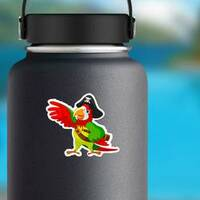 Pirate Parrot Sticker on a Water Bottle example
