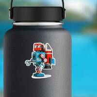 Retro Robot With Jetpack Sticker on a Water Bottle example